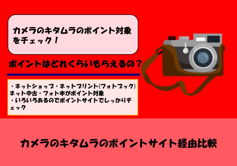 【2020年4月更新】カメラのキタムラのポイントサイト経由比較|ポイント獲得条件と注意点